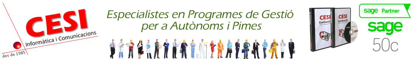 Especialistes en programes de gestió per a autònoms i pimes. Software propi Cesigest Cesicont i partners de Sage50c