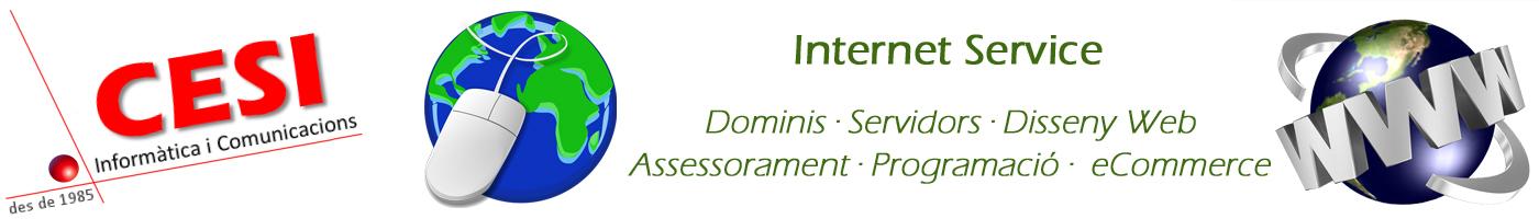 Serveis integrals d'internet, dominis, servidors, disseny web, assessorament, programació, e-commerce
